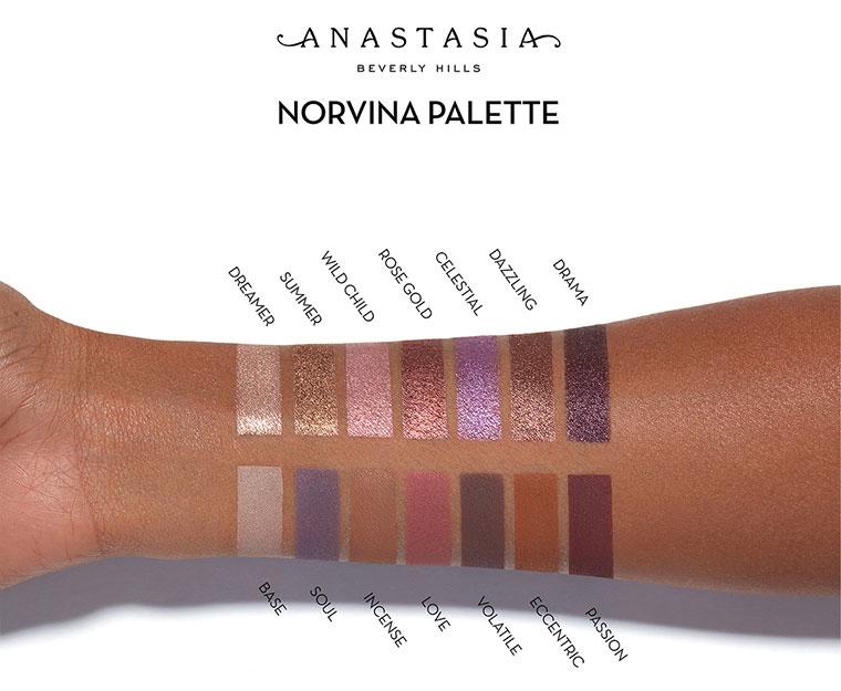 Palette Anastasia X Norvina swatches