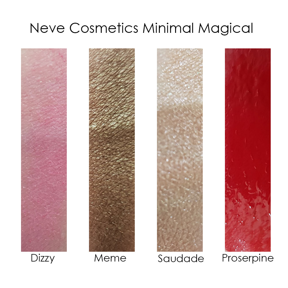 Swatches Minimal Magical Neve Cosmetics