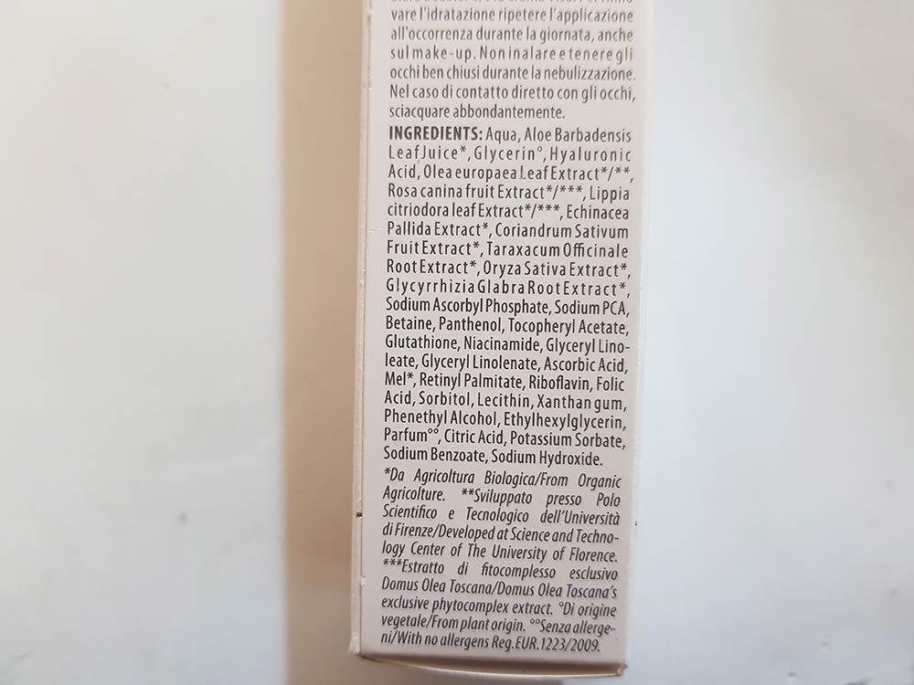 Domus Olea Toscana  Micro-Ialuron INCI Tonico Mist Detox Lift
